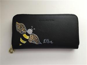 Portafoglio in pelle dipinto a  mano ape Elba