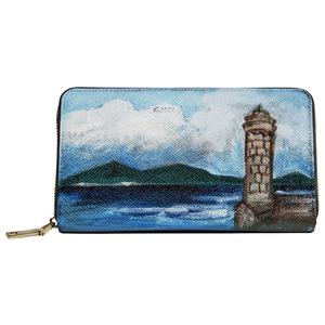 Maxi portafoglio in Pelle - Il Faro - Dipinto a Mano